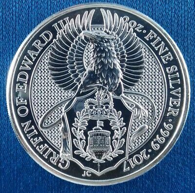 2017 Queen's Beasts Griffin of Edward III 2 Ounce .999 Silver Coin