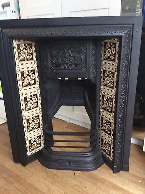 Cast Iron Victorian-Style Fireplace withTiled Insert & Grate. Original Tiles.