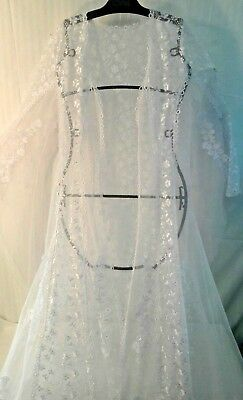 RENAISSANCE Medieval WEDDING White Embellished LACE Over-Dress/etc Angel Sleeves