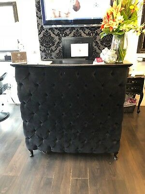 French style small reception desk with black velvet padded