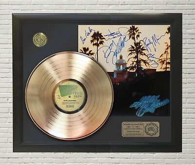 "Eagles - Hotel California Framed Gold LP Signature Display""M4"""