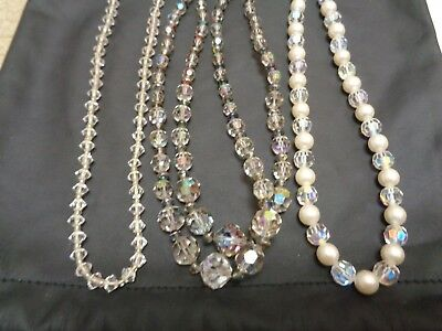 Vintage LOT of 3 Clear  Aurora Borealis & Watermelon CRYSTAL Beaded  Necklaces