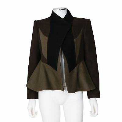 Givenchy Brown and Black Wool Jacket with Peplum Hem - Size 42