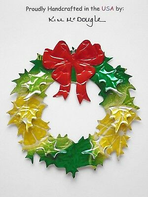 Wreath Christmas Ornament Handmade Recycled Aluminum Energy And Cola Can Combo