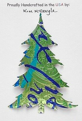 Tree Christmas Tree Ornament Handmade Recycled Aluminum Metal Lime Water Can