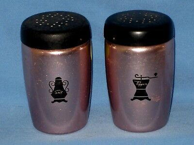 Vintage WEST BEND Salt Pepper Shakers Copper Colored Aluminium Black Tops!