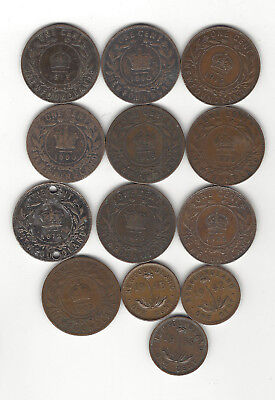 8. New Foundland World Coin; 13 One Cent Coins 1872- 1919 / + 1938,42,43