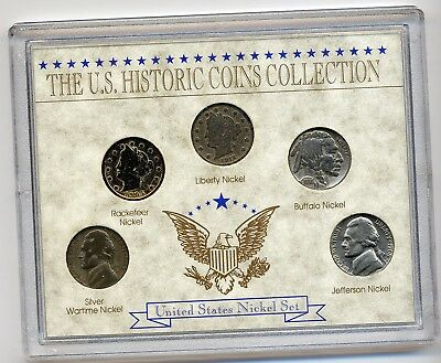 USA Plastfolder The US-Historic Coins Collection -United States Nickel Set