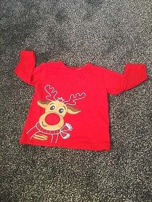 Baby Boy Christmas jumper /  Top. Age 9-12 Months . Rudolph. Red