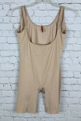 9378abe39bc6f Spanx Slimplicity Bodysuit Plus Size 1X Shapewear Open Bust Mid Thigh Beige   90