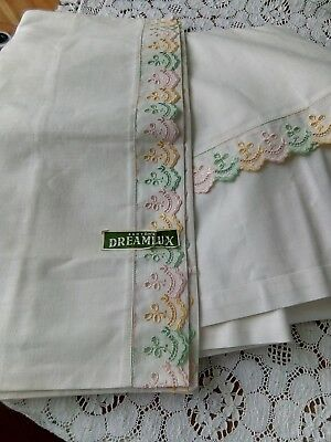 Vintage linen double flat sheet pillowcases X2  by Ashton's dreamlux shabby chic