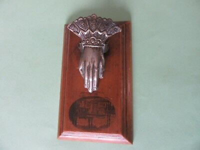 Victorian Mauchline Ware Desk Metal Hand Paper Holder~Extremely Rare~CHARTRES