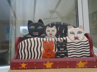 large quirky wooden cats letter rack with pen/stationary holder tray  WOW LOOK