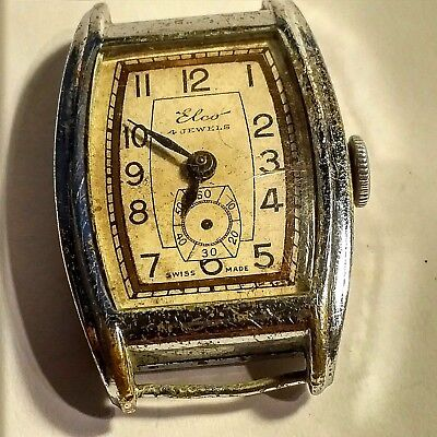 Elco Vintage Swiss Made Mens  Watch In Good Condition Genuine Old Watch Runs