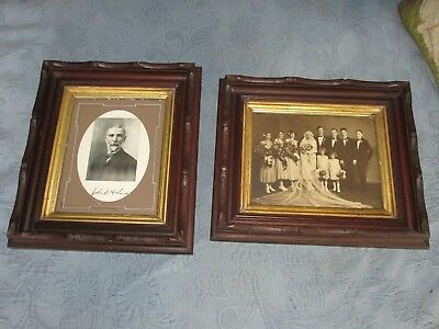 Pair of Antique Victorian Adirondack Walnut Carved Picture Frames & Old Photos