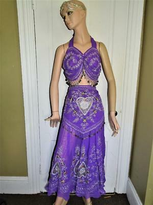 Woman`s Complete 7+ Piece BELLY DANCER Outfit Silver Embroidery, Coins SZ L