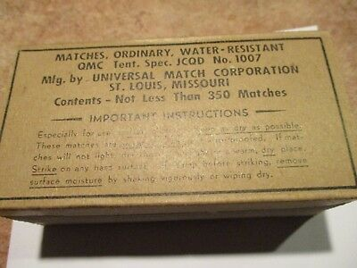 Wwii Matches Water Resistant Qmc Tent.spec. Jcqd No.1007 St.louis Missouri Ww2