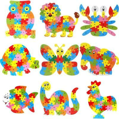 Kids Wooden Animal Puzzle Numbers Alphabet Jigsaw Learning Educational Toy