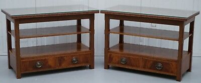 Pair Of Walnut Side End Lamp Wine Tables Shelves Drawers & Glass Protector Top