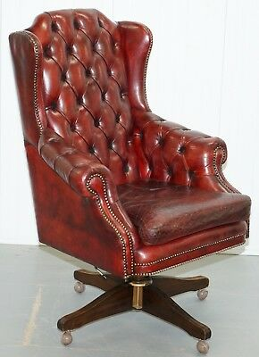Hand Dyed 1960's Chesterfield Oxblood Leather Directors Captains Office Chair