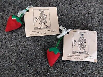 2 Vintage 1991 Colonial Williamsburg Strawberry Pincushions Unused with Tags