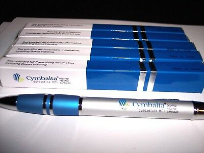 Eli Lilly & Co. Pharmaceuticals Lot Of 5 Cymbalta Deluxe Metal Pens-New  Prozac