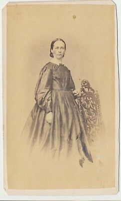 1860s Civil War Era Fashion Antique CDV Photo Full Standing Lady Norristown, PA