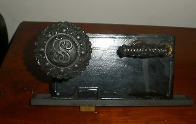 Antique Ornate Victorian Iron Door Knob & Lock Set