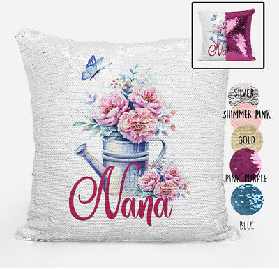 Nana Reversible Magic Sequin Cushion Cover Personalised any Name Lots of Colours