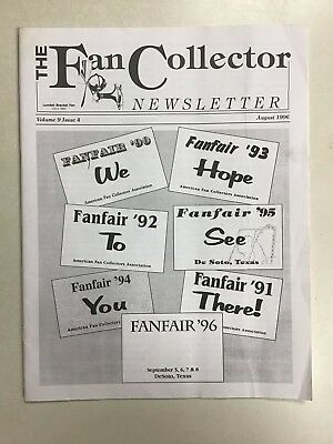 The FAN COLLECTOR NEWSLETTER Magazine August 1996  ~ Antique Fans