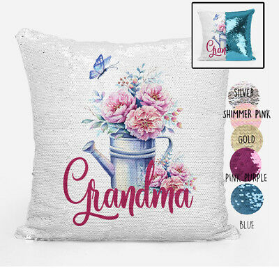 Grandma Reversible Magic Sequin Cushion Cover Personalised any Grandmother Name
