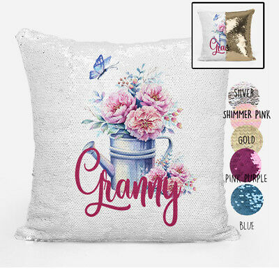 Granny Reversible Magic Sequin Cushion Cover Personalised any Grandmother Name