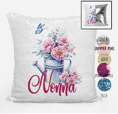 Nonna Reversible Magic Sequin Cushion Cover Personalised any Grandmother Name