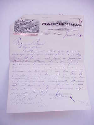 ANTIQUE 1903 St. Louis MO Evens & Howard Fire Brick Co. Stationery/Letterhead