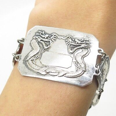 Antique Asian Sterling Silver Chinese Storyteller Dragons Link Bracelet