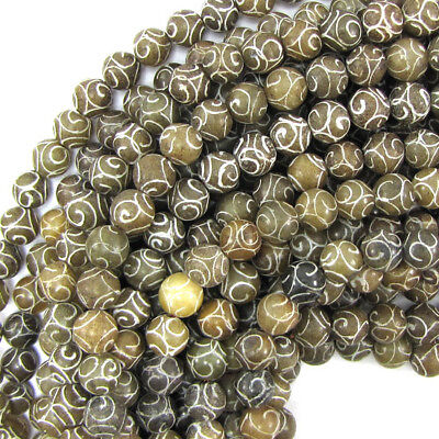 "8mm antique jade carved round beads 15"" strand"