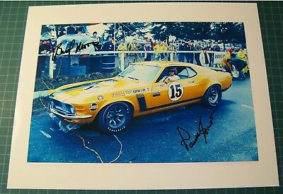1970 Boss 302 Mustang Trans Am picture signed by Bud moore and Parnelli Jones