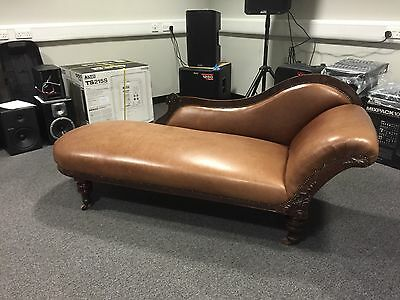 Antique Victorian Chaise Lounge With Tan / Brown Leather Mahogany 19Th Century