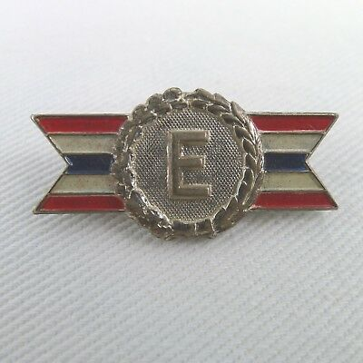 Vintage E Production Award Pin WWII Era Sterling Silver Army - Navy