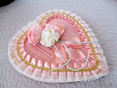 Vintage Brach's Valentine Heart Candy Box Shabby Pink Roses Vintage Millinery