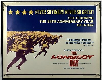 LONGEST DAY Movie Poster (VeryGood+) Half Sheet 1969 ReRelease WW2 D-Day 014R