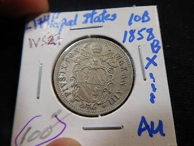 L174 Italy Papal States 1858-B 10 Baiocchi AU Catalog Value=$100