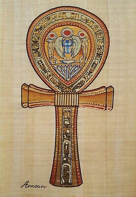 Egyptian Ankh    Key of Life       Handmade Hand-painted Egyptian Papyrus