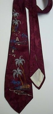 """1940s Vintage Neck Tie Hand Painted Palm Trees Burgundy """"The Royal"""" Rayon"""