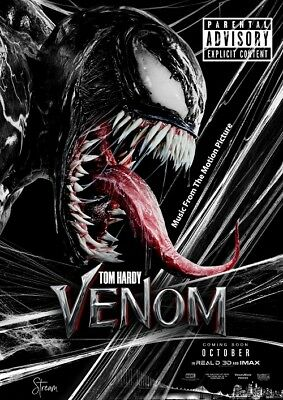"Venom Movie Poster Tom Hardy Film Music Art Print Size 13x20 24x36"" 27x40"" 32x48"