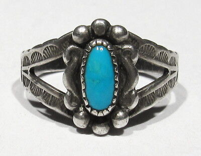 Old Pawn 1930s Signed Navajo 925 Silver Natural Turquoise Adjustable Ring 5 to 6