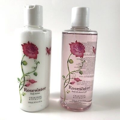 Crabtree & Evelyn Rosewater Scent Body Lotion Shower Gel Set 250 mL 8.5 oz USA