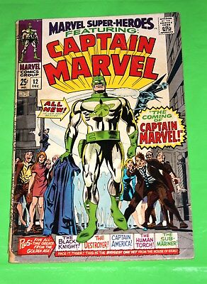 Marvel Super-Heroes 12 - low grade - 1st Captain Marvel 1967 - Jude Law - Movie!