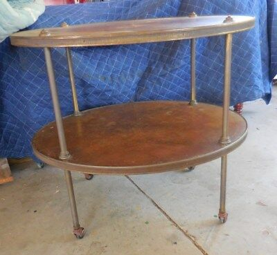 Old Colony 2 Tier Walnut Empire Regency Style Oval End Side Table