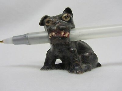 Vintage Hubley cast iron Bulldog pencil holder paperweight original paint